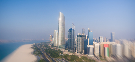 Abu Dhabi Downtown view from helicopter.