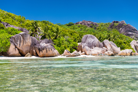 la digue: Beautiful rocks on the beach in Anse Source DArgent - La Digue, Seychelles.