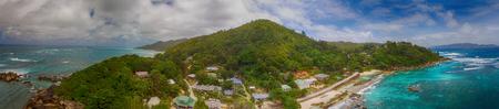 Praslin, aerial panorama of southern coast.