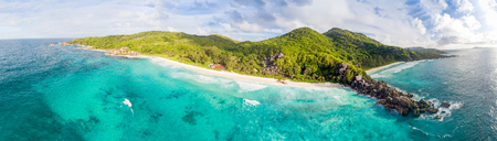 Panoranic aerial view of Grand and Petite Anse in La Digue, Seychelles. Stock Photo