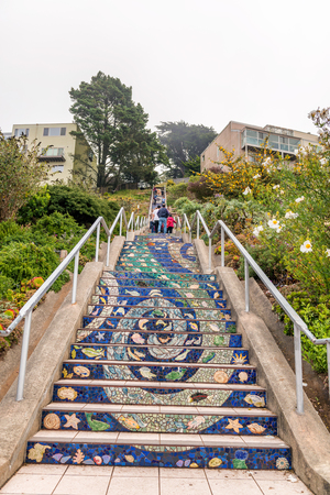 SAN FRANCISCO - AUGUST 5, 2017: 16 Ave Tiled Steps. They are a famous tourist attraction.