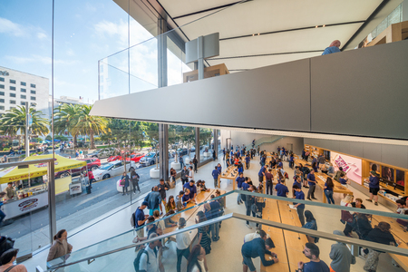 SAN FRANCISCO - AUGUST 6, 2017: Interior of Apple Store. This is a famous Apple Store worldwide.
