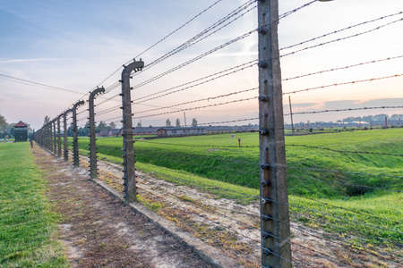 Barbed wire in a concentration camp in Auschwitz (Poland). Éditoriale