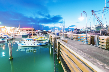 SAN FRANCISCO - AUGUST 6, 2017: Beautiful view of Fishermen Wharf port. The city attracts 20 million people annually.