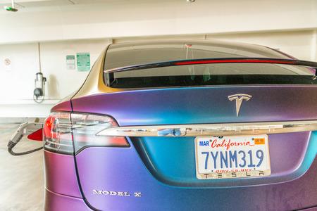 LOS ANGELES - AUGUST 1, 2017: Tesla X car stands at underground parking. The Tesla Model X produced by Tesla Motors.