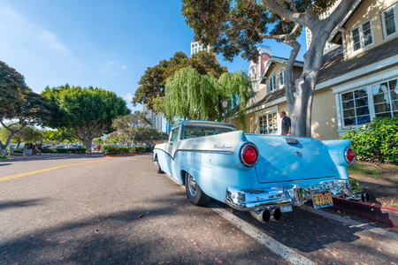SAN DIEGO - JULY 29, 2017: Old vintage car along city streets. San Diego is a major attraction in California.