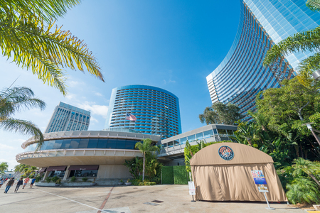 SAN DIEGO - JULY 29, 2017: Modern buildings of San Diego skyline. San Diego attracts 20 million people annually.