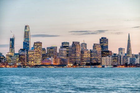 Night skyline of San Francisco from Treasure Island. Stock fotó
