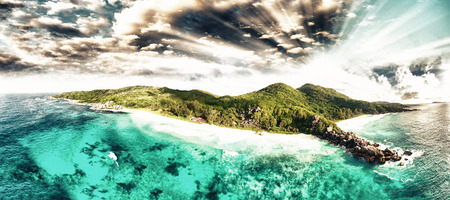 La Digue Seychelles. Aerial view at sunset.