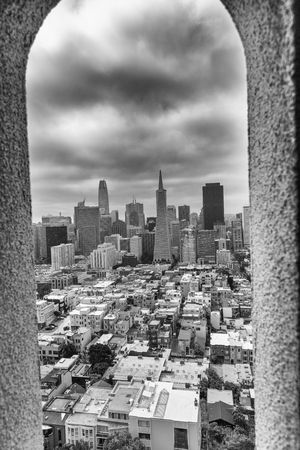 SAN FRANCISCO - AUGUST 2017: San Francisco skyline framed by Coit Tower Architecture.