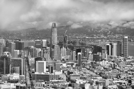 SAN FRANCISCO - AUGUST 7, 2017: Aerial view of Market Street, Downtown Buildings. The city attracts 20 million tourists.