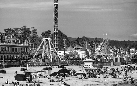 SANTA CRUZ, CA - AUGUST 4, 2017: Amusement park on the beach. This is a famous tourist attraction in California.