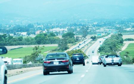 Traffic in California Coastal Highway.