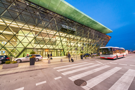 KRAKOW, POLAND - OCTOBER 2, 2017: Exterior of Krakow airport. It serves many low cost european companies. Éditoriale