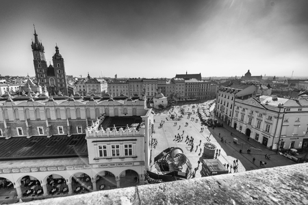 KRAKOW, POLAND - OCTOBER 1, 2017: Aerial view of city square. Krakow attracts 1 million visitors annually.