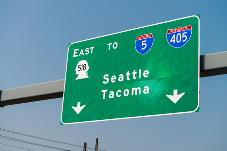 Seattle Tacoma interstate signs.