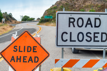 Road closed signs, danger concept. Foto de archivo