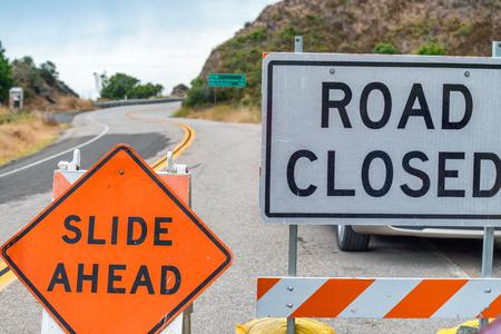 Road closed signs, danger concept. Archivio Fotografico