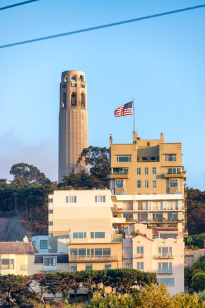 Coit Tower in San Francisco. Stock Photo