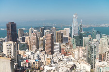 SAN FRANCISCO - AUGUST 7, 2017: San Francisco Skyline as seen from helicopter. The city attracts 20 million people every year. Éditoriale
