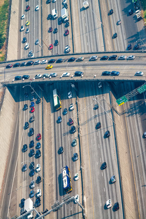 Busy traffic on the interstate, aerial view.