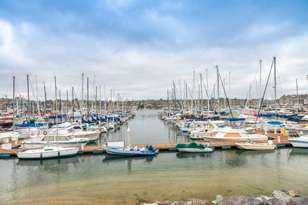SAN DIEGO - JULY 29, 2017: Boats in San Diego port. San Diego attracts 20 million people annually.