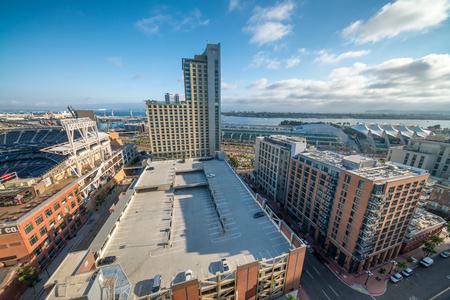 SAN DIEGO - JULY 29, 2017: Modern city skyline. San Diego attracts 20 million people annually.