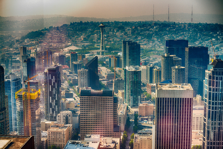 Aerila view of Seattle skyline. Banque d'images