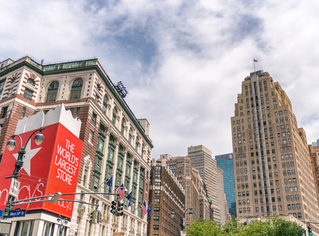 NEW YORK CITY - JUNE 14, 2013: Macys building in Midtown. This is a famous shopping center.