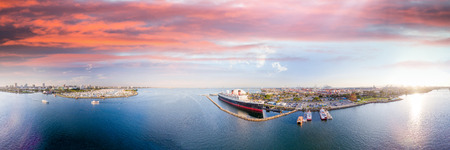 Panoramic aerial view of Long Beach and Queen Mary, California.