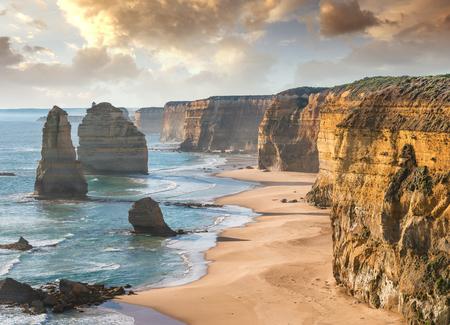 Twelve Apostles rocks at sunset, Port Campbell - Australia. Stock Photo
