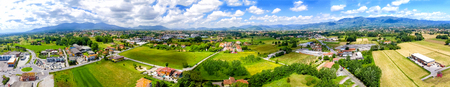 Aerial panoramic view of Lucca Countryside. City and mountains, Tuscany - Italy.