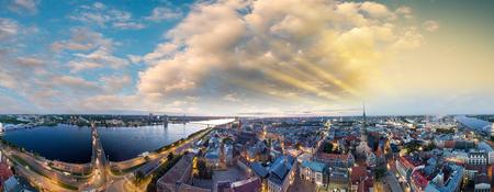 Sunset in Riga. Latvia. Panoramic aerial view.