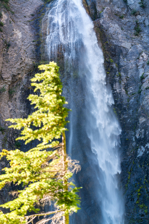 Comet Falls in Mount Rainier National Park, WA. Stock Photo
