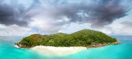 Anse Gerogette Aerial Panoramic View, Praslin - Seychelles Islands.