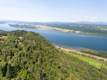 Aerial view of Columbia river, Oregon. Stock Photo