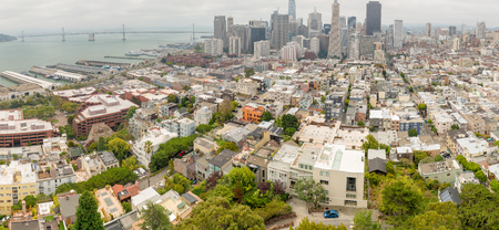 city park skyline: SAN FRANCISCO - AUGUST 7, 2017: Aerial skyline of San Francisco from city tower. The city attracts 20 million tourists annually.