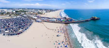 SANTA MONICA, CA - AUGUST 1, 2017: Aerial view of coastline and city. Santa Monica is a famous tourist attraction in California.