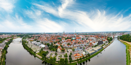 Aerial view of Lubeck at sunset, Germany.