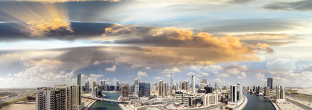 Downtown Dubai aerial view at sunset. Stock Photo