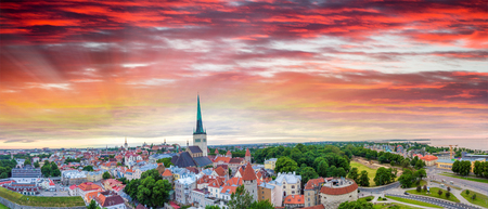 Panoramic aerial view of Lubeck at sunset, Germany. Stock Photo