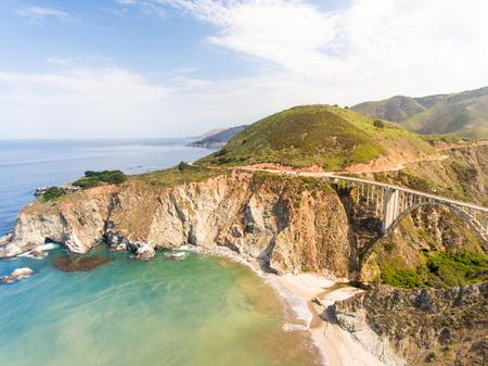 Aerial view of Big Sur coastline, California.