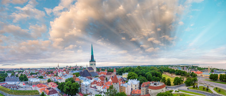 street shot: Aerial view of Lubeck at dusk, Germany. Stock Photo