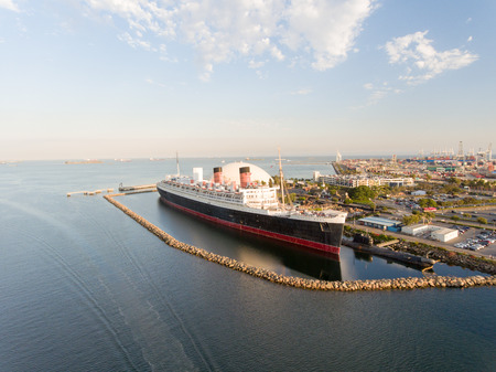 Aerial view of Long Beach Queen Mary, USA. Zdjęcie Seryjne - 88597206