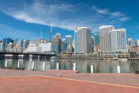 SYDNEY - OCTOBER 2015: View of Darling Harbour skyline. Sydney attracts 15 million people annually.
