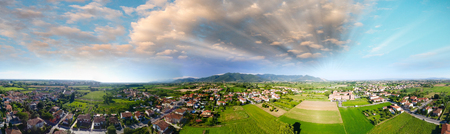 Panoramic aerial view of beautiful countryside. Stock Photo