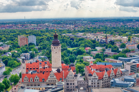 Aerial view of Leipzig, Germany. Stock Photo