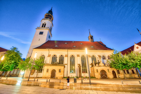 Ancient church of Celle, Germany. Night view.