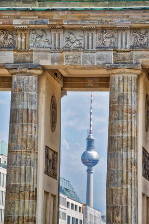TV Tower through Brandenburg Gate, Berlin.