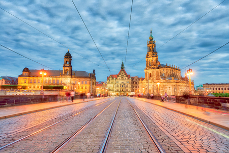 Bridge and medieval night skyline of Dresden, Germany.